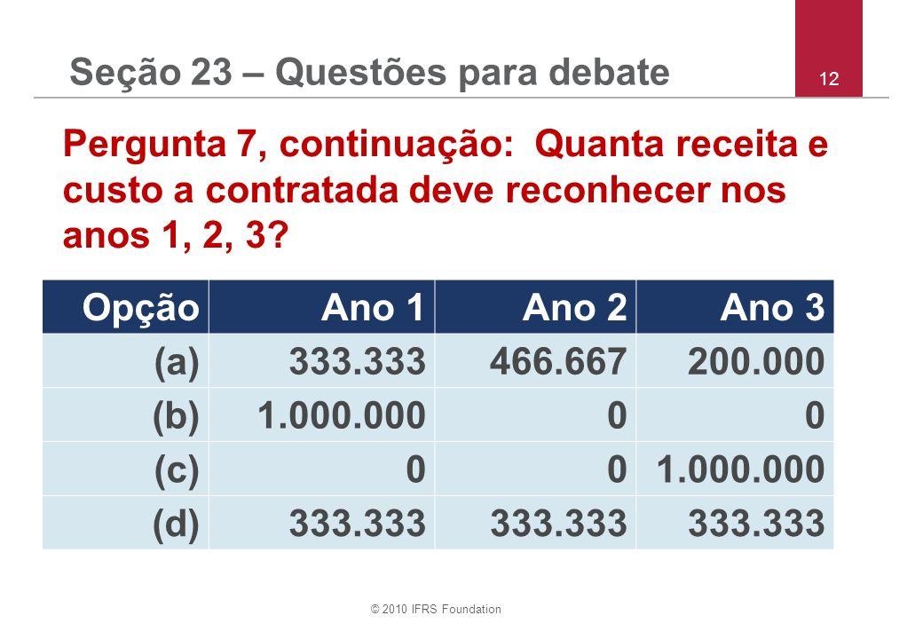 © 2010 IFRS Foundation 12 Pergunta 7, continuação: Quanta receita e custo a contratada deve reconhecer nos anos 1, 2, 3.
