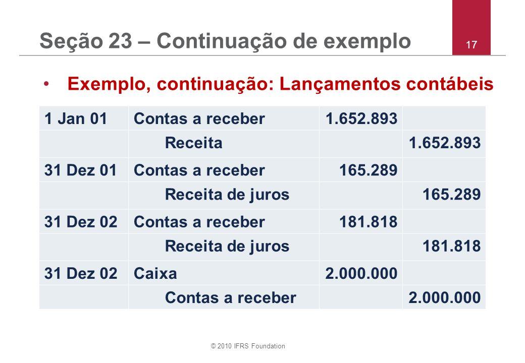 © 2010 IFRS Foundation 17 Seção 23 – Continuação de exemplo Exemplo, continuação: Lançamentos contábeis 1 Jan 01Contas a receber1.652.893 Receita1.652