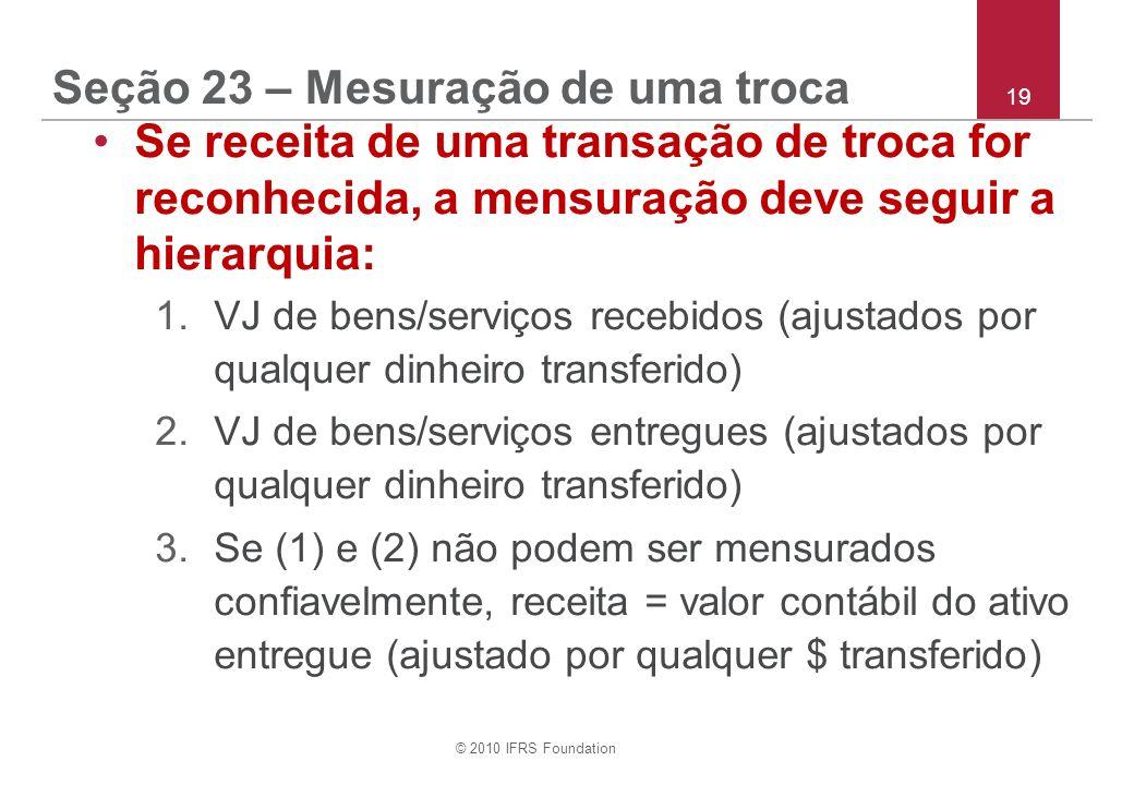 © 2010 IFRS Foundation 19 Seção 23 – Mesuração de uma troca Se receita de uma transação de troca for reconhecida, a mensuração deve seguir a hierarqui