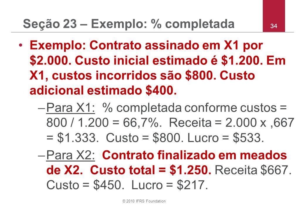 © 2010 IFRS Foundation 34 Seção 23 – Exemplo: % completada Exemplo: Contrato assinado em X1 por $2.000. Custo inicial estimado é $1.200. Em X1, custos