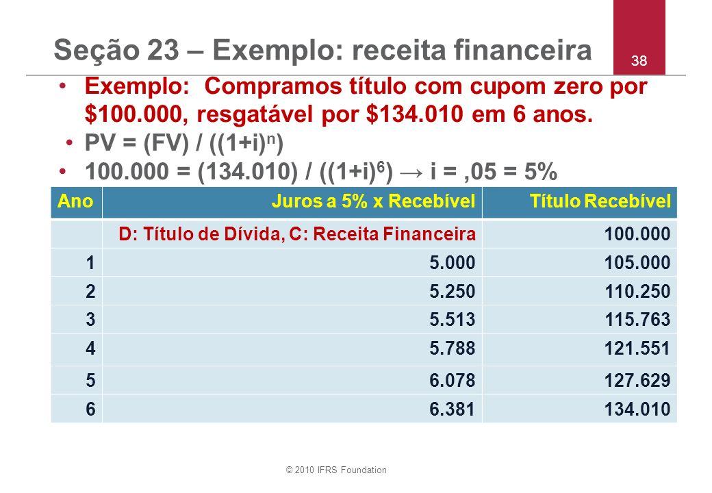 © 2010 IFRS Foundation 38 Seção 23 – Exemplo: receita financeira Exemplo: Compramos título com cupom zero por $100.000, resgatável por $134.010 em 6 anos.