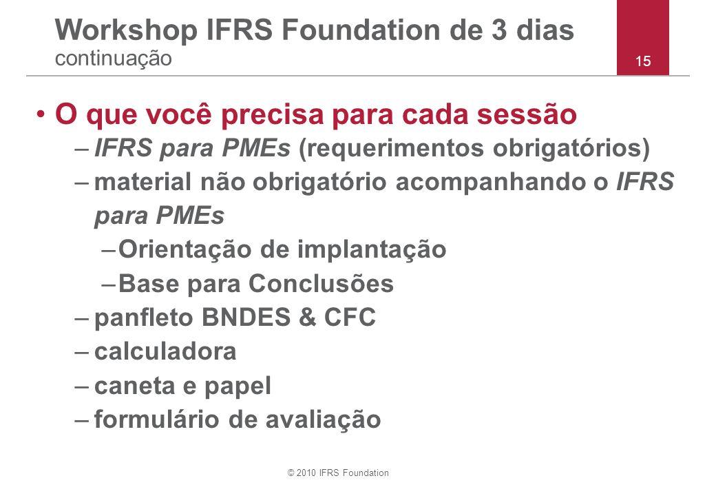 © 2010 IFRS Foundation O que você precisa para cada sessão –IFRS para PMEs (requerimentos obrigatórios) –material não obrigatório acompanhando o IFRS para PMEs –Orientação de implantação –Base para Conclusões –panfleto BNDES & CFC –calculadora –caneta e papel –formulário de avaliação Workshop IFRS Foundation de 3 dias continuação 15