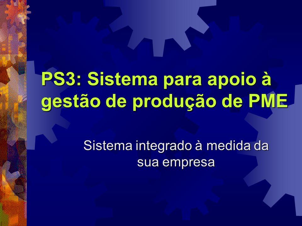 PS3: Sistema para apoio à gestão de produção de PME Sistema integrado à medida da sua empresa