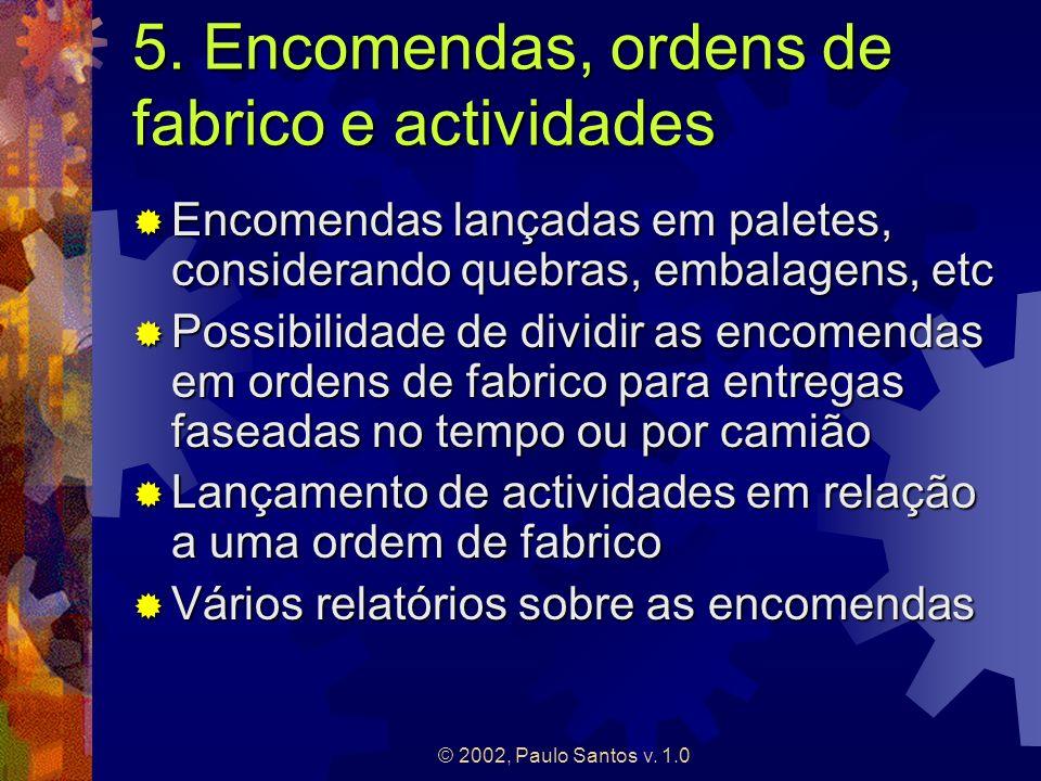 © 2002, Paulo Santos v. 1.0 5. Encomendas, ordens de fabrico e actividades Encomendas lançadas em paletes, considerando quebras, embalagens, etc Encom