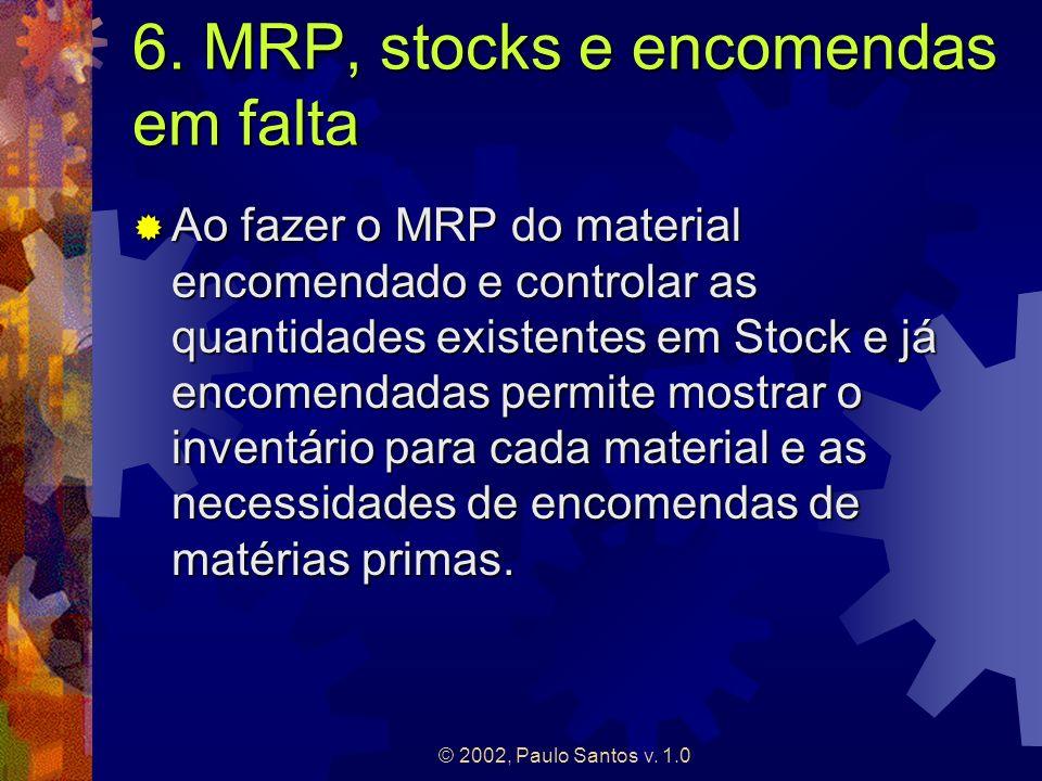 © 2002, Paulo Santos v. 1.0 6. MRP, stocks e encomendas em falta Ao fazer o MRP do material encomendado e controlar as quantidades existentes em Stock