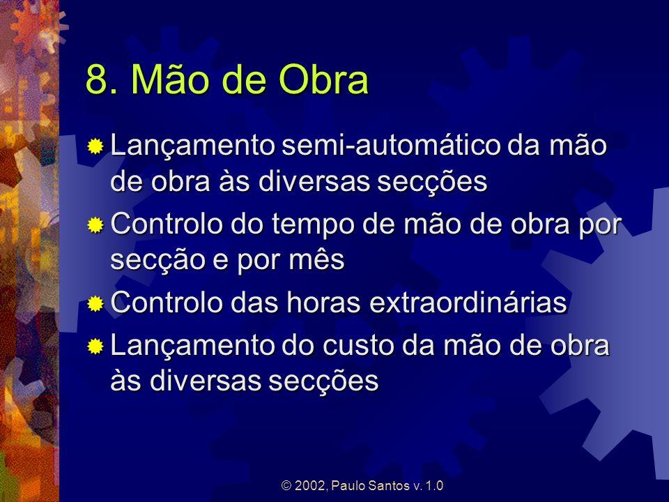 © 2002, Paulo Santos v. 1.0 8. Mão de Obra Lançamento semi-automático da mão de obra às diversas secções Lançamento semi-automático da mão de obra às