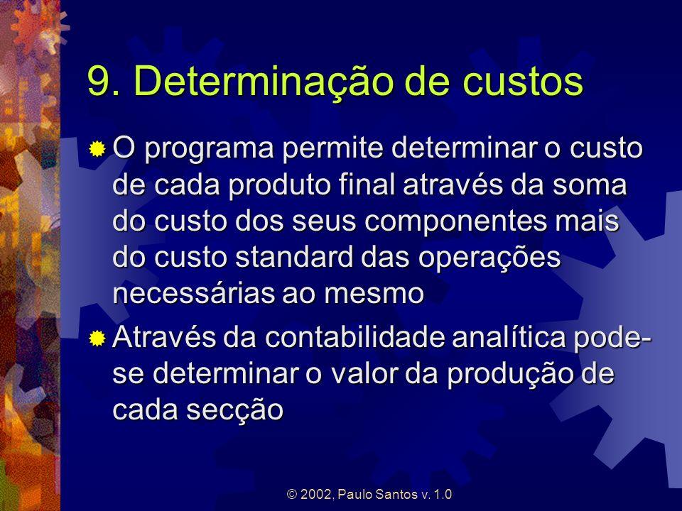 © 2002, Paulo Santos v. 1.0 9. Determinação de custos O programa permite determinar o custo de cada produto final através da soma do custo dos seus co