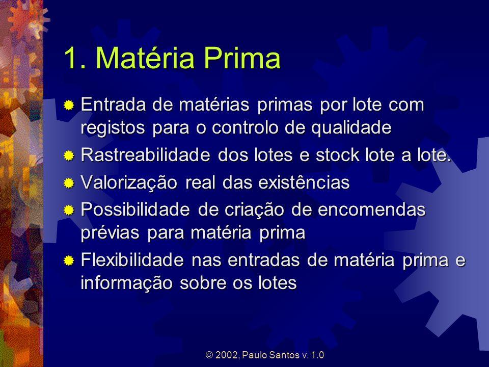 © 2002, Paulo Santos v. 1.0 1. Matéria Prima Entrada de matérias primas por lote com registos para o controlo de qualidade Entrada de matérias primas
