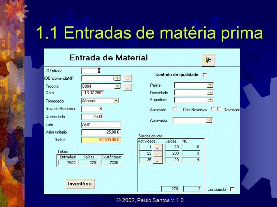 © 2002, Paulo Santos v. 1.0 1.1 Entradas de matéria prima