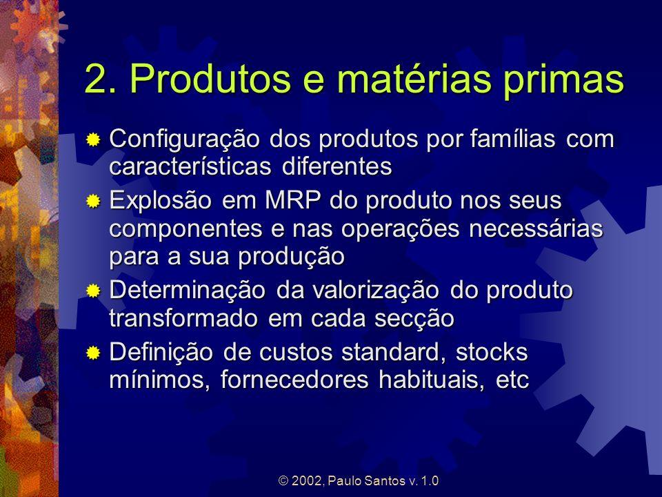 © 2002, Paulo Santos v. 1.0 2. Produtos e matérias primas Configuração dos produtos por famílias com características diferentes Configuração dos produ