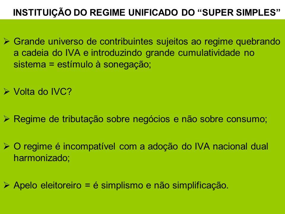 4 Grande universo de contribuintes sujeitos ao regime quebrando a cadeia do IVA e introduzindo grande cumulatividade no sistema = estímulo à sonegação; Volta do IVC.