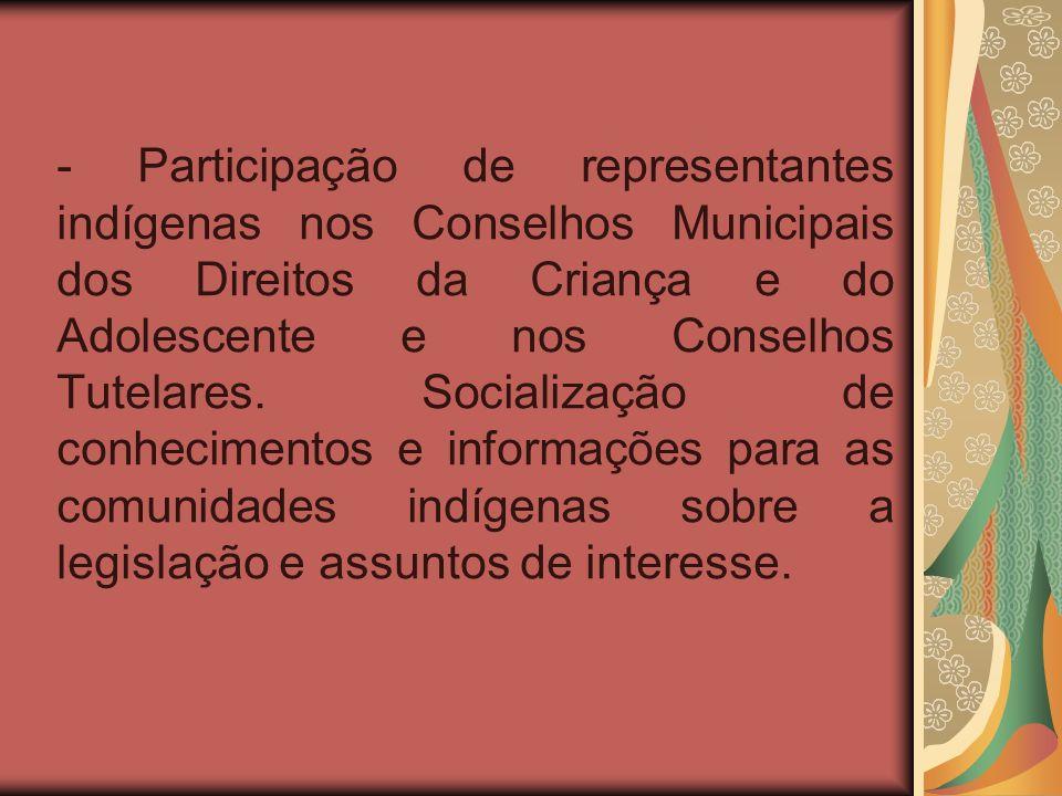 - Participação de representantes indígenas nos Conselhos Municipais dos Direitos da Criança e do Adolescente e nos Conselhos Tutelares.