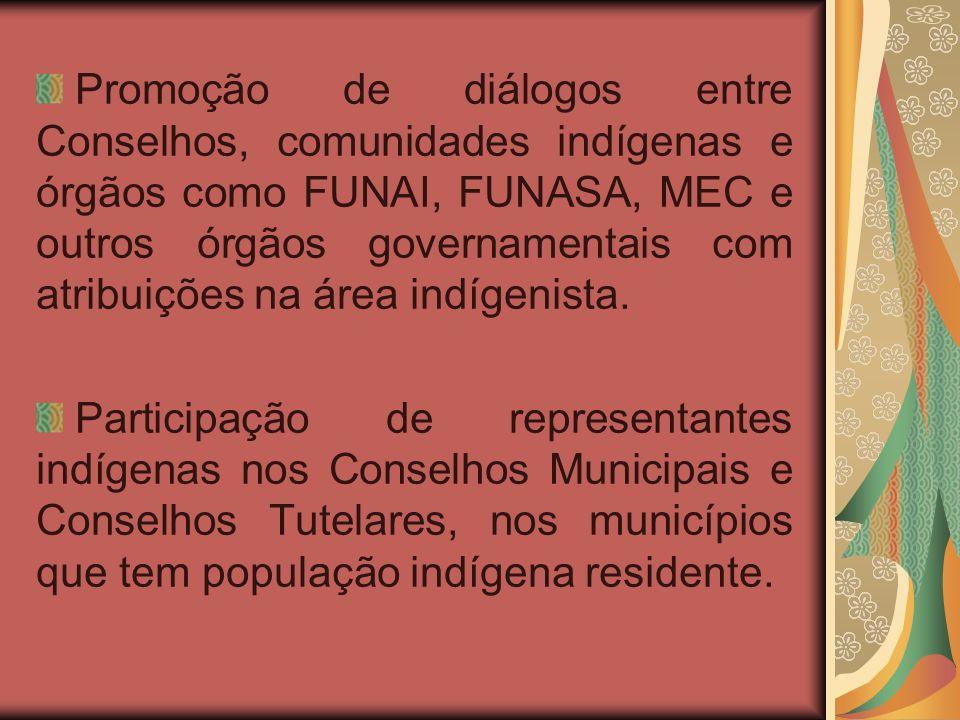 Promoção de diálogos entre Conselhos, comunidades indígenas e órgãos como FUNAI, FUNASA, MEC e outros órgãos governamentais com atribuições na área indígenista.