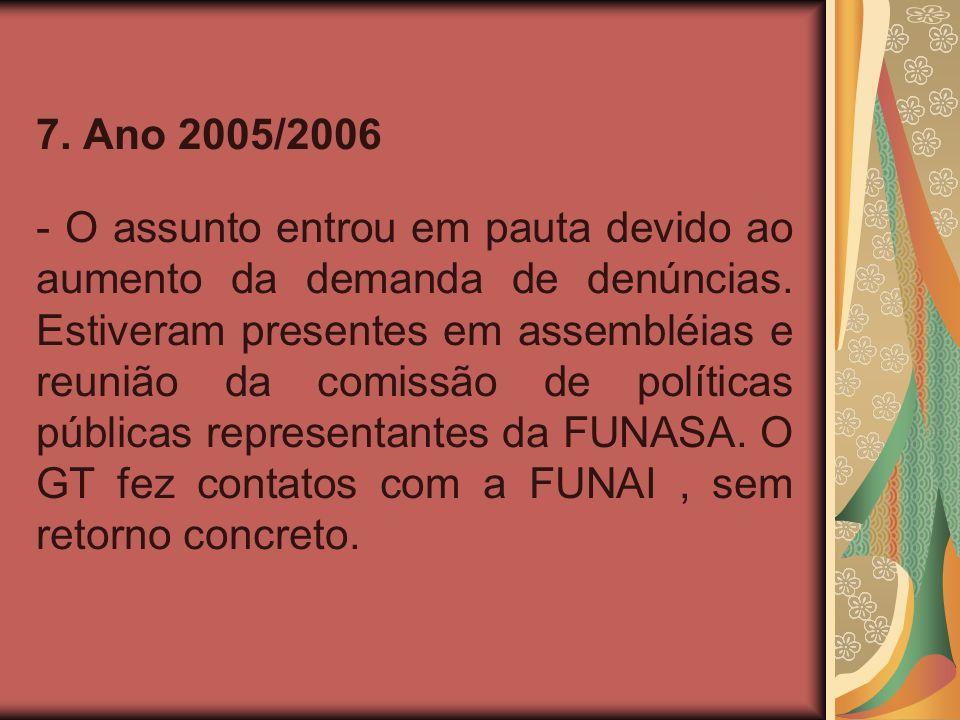 7. Ano 2005/2006 - O assunto entrou em pauta devido ao aumento da demanda de denúncias.