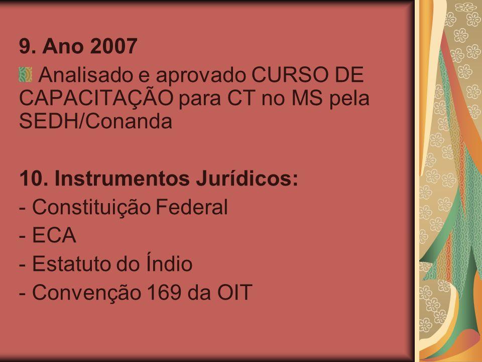 9. Ano 2007 Analisado e aprovado CURSO DE CAPACITAÇÃO para CT no MS pela SEDH/Conanda 10.