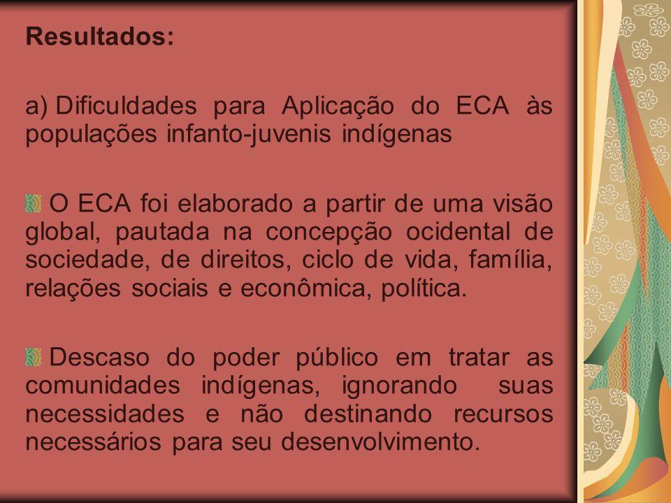 Resultados: a) Dificuldades para Aplicação do ECA às populações infanto-juvenis indígenas O ECA foi elaborado a partir de uma visão global, pautada na concepção ocidental de sociedade, de direitos, ciclo de vida, família, relações sociais e econômica, política.