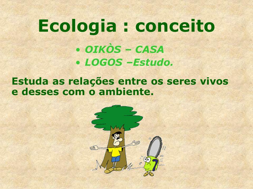 Ecologia : conceito OIKÒS – CASA LOGOS –Estudo. Estuda as relações entre os seres vivos e desses com o ambiente.