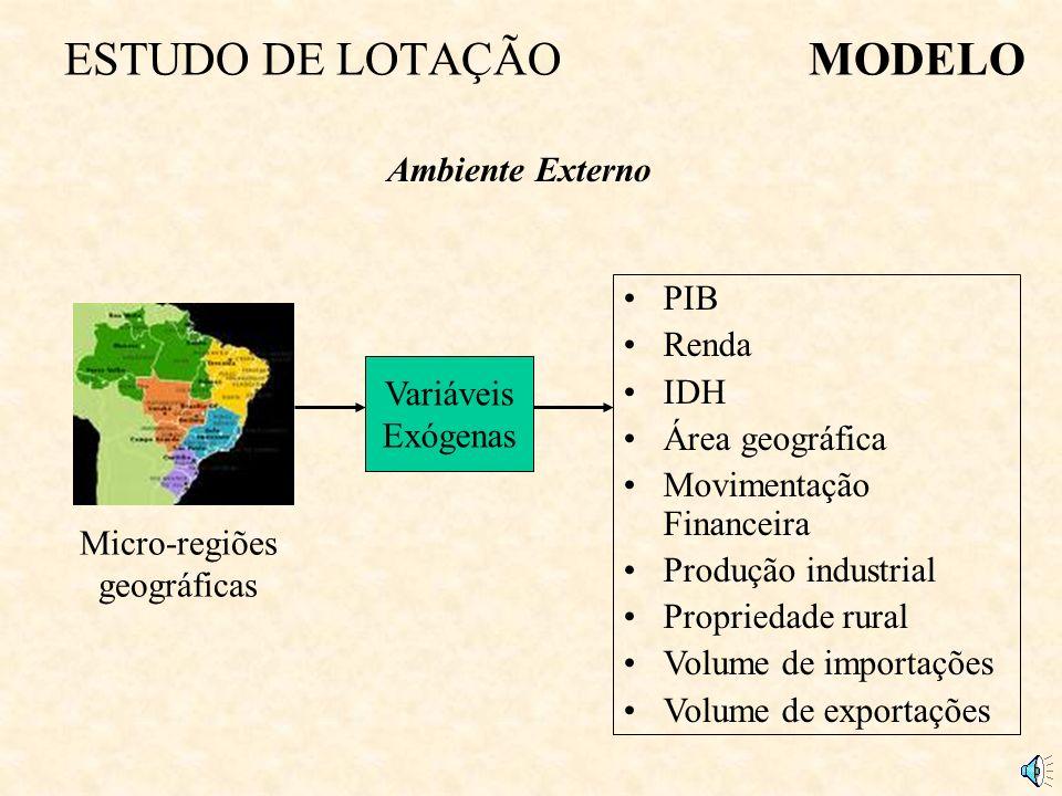 ESTUDO DE LOTAÇÃOMODELO Micro-regiões geográficas Variáveis Exógenas Ambiente Externo PIB Renda IDH Área geográfica Movimentação Financeira Produção industrial Propriedade rural Volume de importações Volume de exportações
