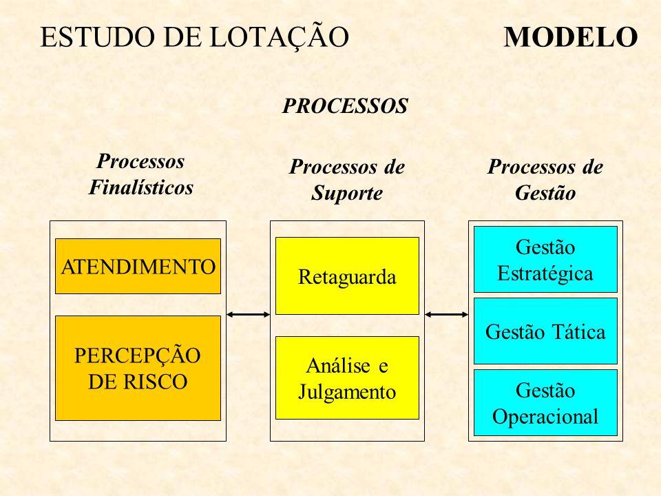 ESTUDO DE LOTAÇÃOMODELO PROCESSOS ATENDIMENTO PERCEPÇÃO DE RISCO Processos Finalísticos Processos de Suporte Retaguarda Análise e Julgamento Processos de Gestão Gestão Estratégica Gestão Tática Gestão Operacional