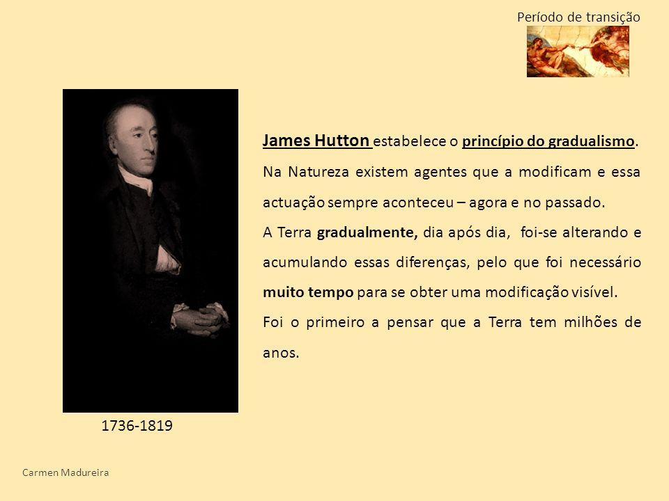 Carmen Madureira 1736-1819 James Hutton estabelece o princípio do gradualismo. Na Natureza existem agentes que a modificam e essa actuação sempre acon
