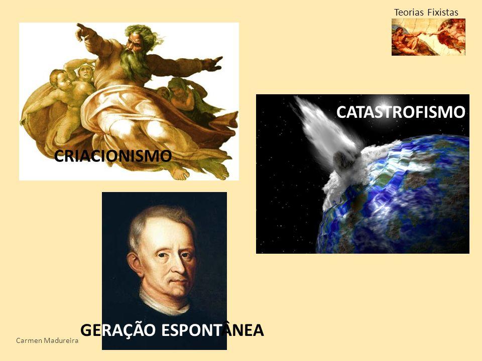 Teorias Fixistas CRIACIONISMO CATASTROFISMO GERAÇÃO ESPONTÂNEA