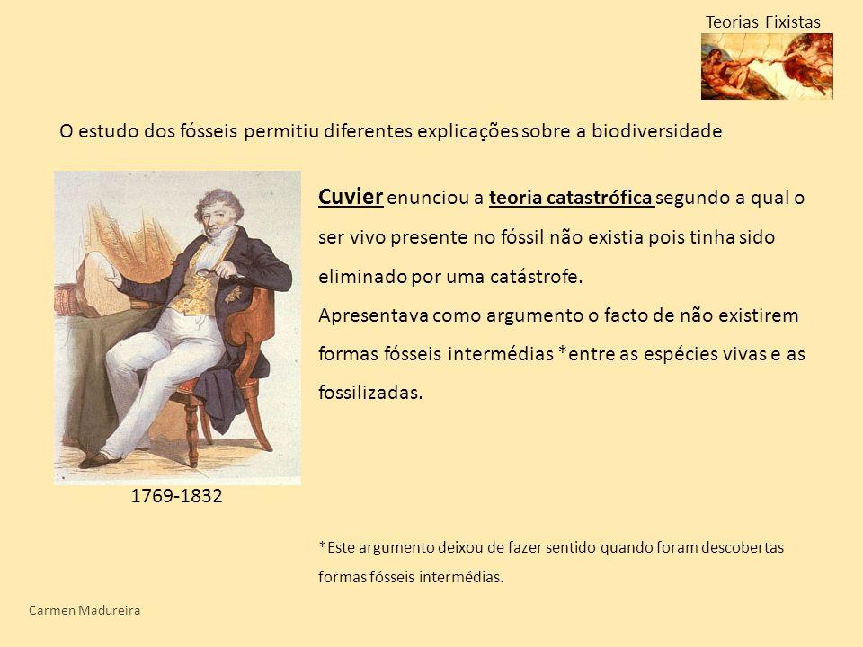 Carmen Madureira Teorias Fixistas Cuvier enunciou a teoria catastrófica segundo a qual o ser vivo presente no fóssil não existia pois tinha sido elimi
