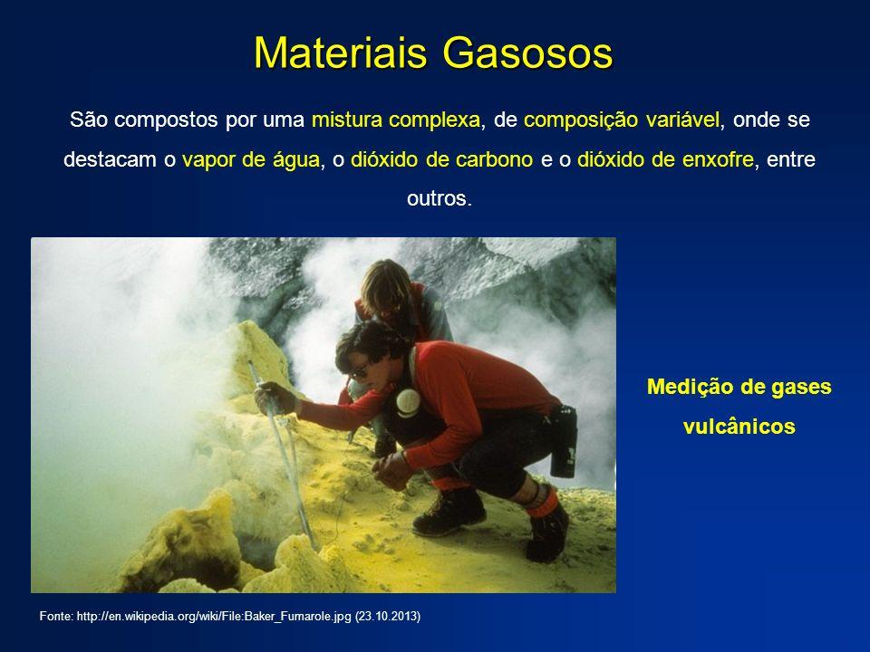Materiais Gasosos São compostos por uma mistura complexa, de composição variável, onde se destacam o vapor de água, o dióxido de carbono e o dióxido d