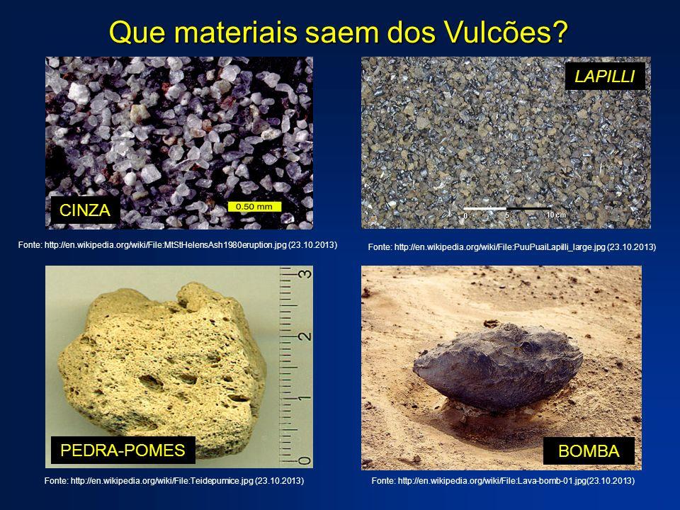 Que materiais saem dos Vulcões? CINZA Fonte: http://en.wikipedia.org/wiki/File:MtStHelensAsh1980eruption.jpg (23.10.2013) LAPILLI Fonte: http://en.wik