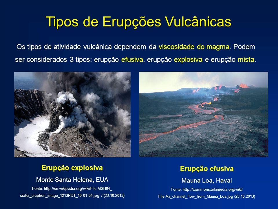 Tipos de Erupções Vulcânicas Os tipos de atividade vulcânica dependem da viscosidade do magma. Podem ser considerados 3 tipos: erupção efusiva, erupçã