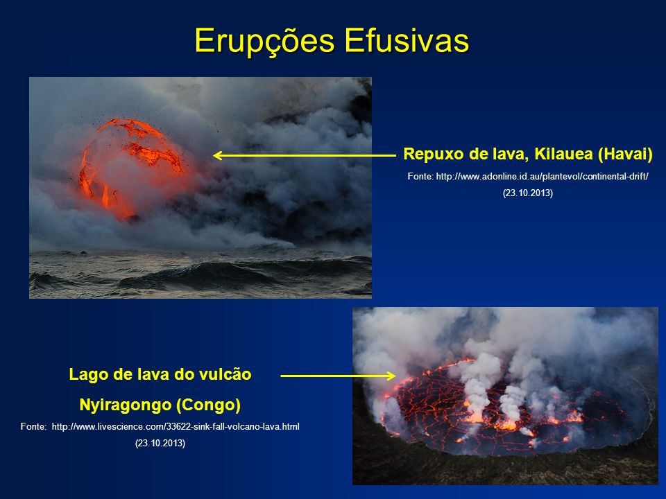 Erupções Efusivas Repuxo de lava, Kilauea (Havai) Fonte: http://www.adonline.id.au/plantevol/continental-drift/ (23.10.2013) Lago de lava do vulcão Ny