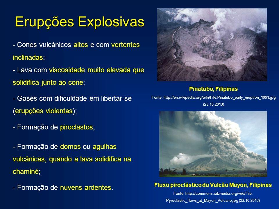 - Cones vulcânicos altos e com vertentes inclinadas; - Lava com viscosidade muito elevada que solidifica junto ao cone; - Gases com dificuldade em lib