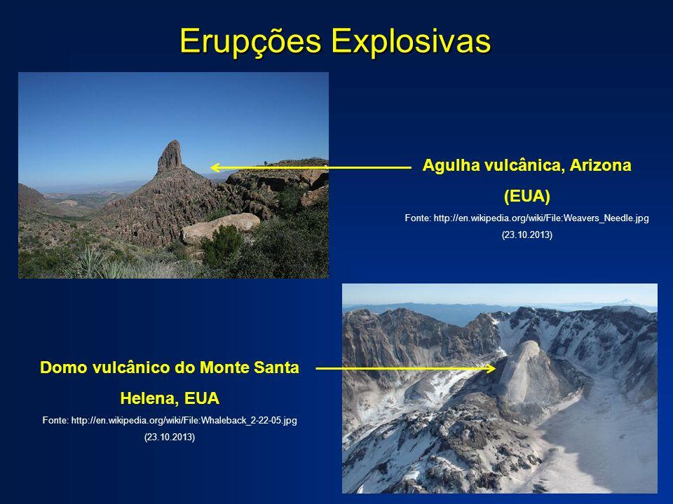 Erupções Explosivas Domo vulcânico do Monte Santa Helena, EUA Fonte: http://en.wikipedia.org/wiki/File:Whaleback_2-22-05.jpg (23.10.2013) Agulha vulcâ