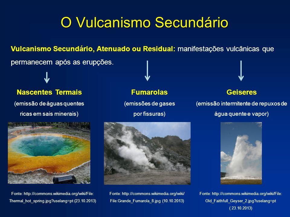 O Vulcanismo Secundário Vulcanismo Secundário, Atenuado ou Residual: manifestações vulcânicas que permanecem após as erupções. Geiseres (emissão inter