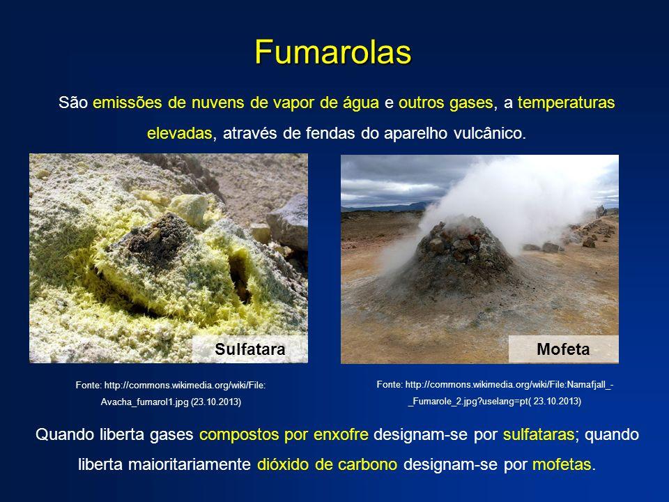 São emissões de nuvens de vapor de água e outros gases, a temperaturas elevadas, através de fendas do aparelho vulcânico. Quando liberta gases compost