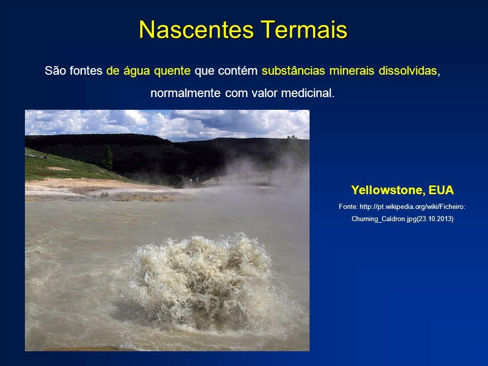 Nascentes Termais São fontes de água quente que contém substâncias minerais dissolvidas, normalmente com valor medicinal. Yellowstone, EUA Fonte: http