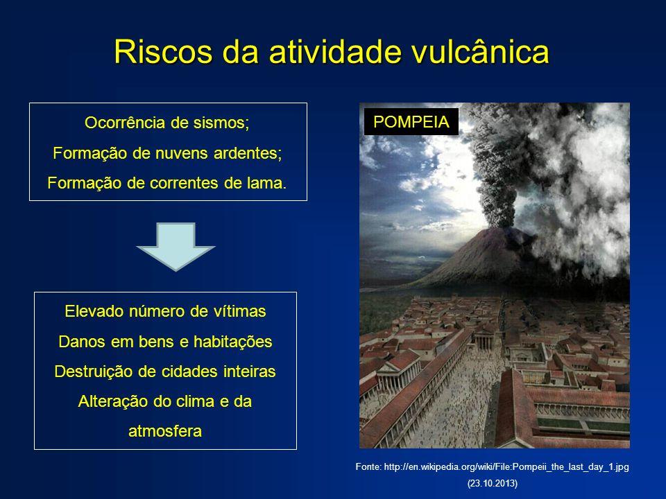 Riscos da atividade vulcânica Ocorrência de sismos; Formação de nuvens ardentes; Formação de correntes de lama. Elevado número de vítimas Danos em ben