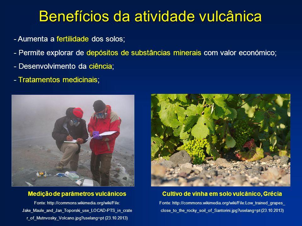 Benefícios da atividade vulcânica - Aumenta a fertilidade dos solos; - Permite explorar de depósitos de substâncias minerais com valor económico; - De
