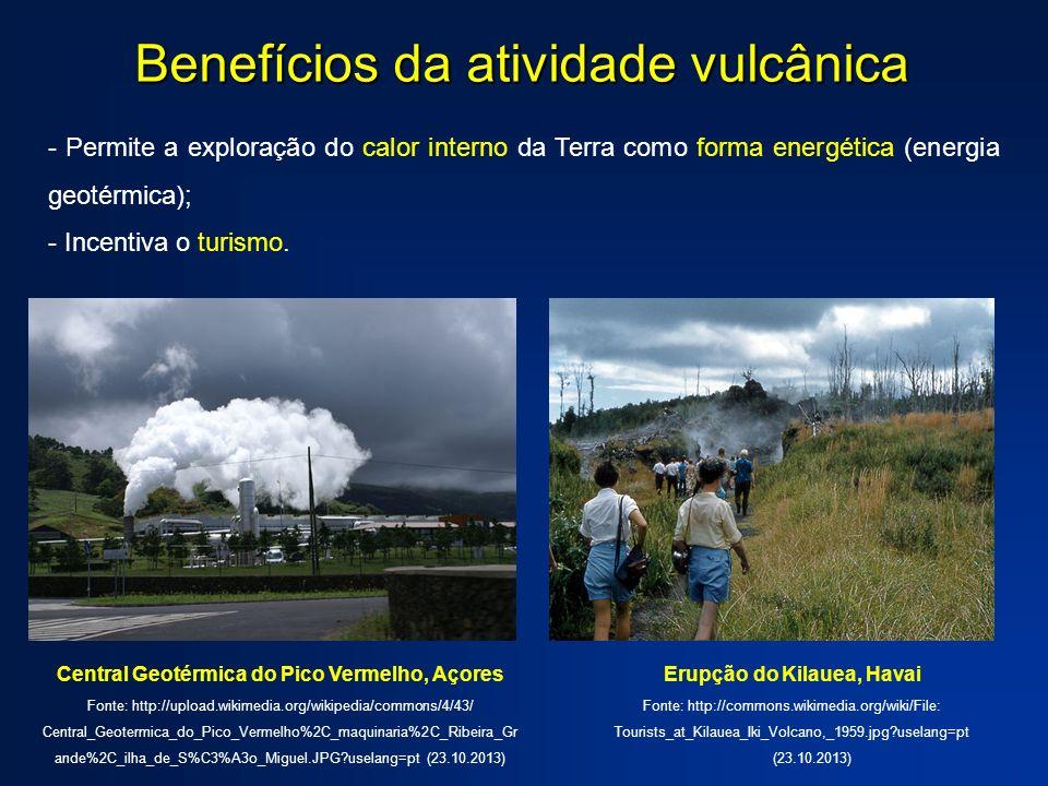 - Permite a exploração do calor interno da Terra como forma energética (energia geotérmica); - Incentiva o turismo. Benefícios da atividade vulcânica