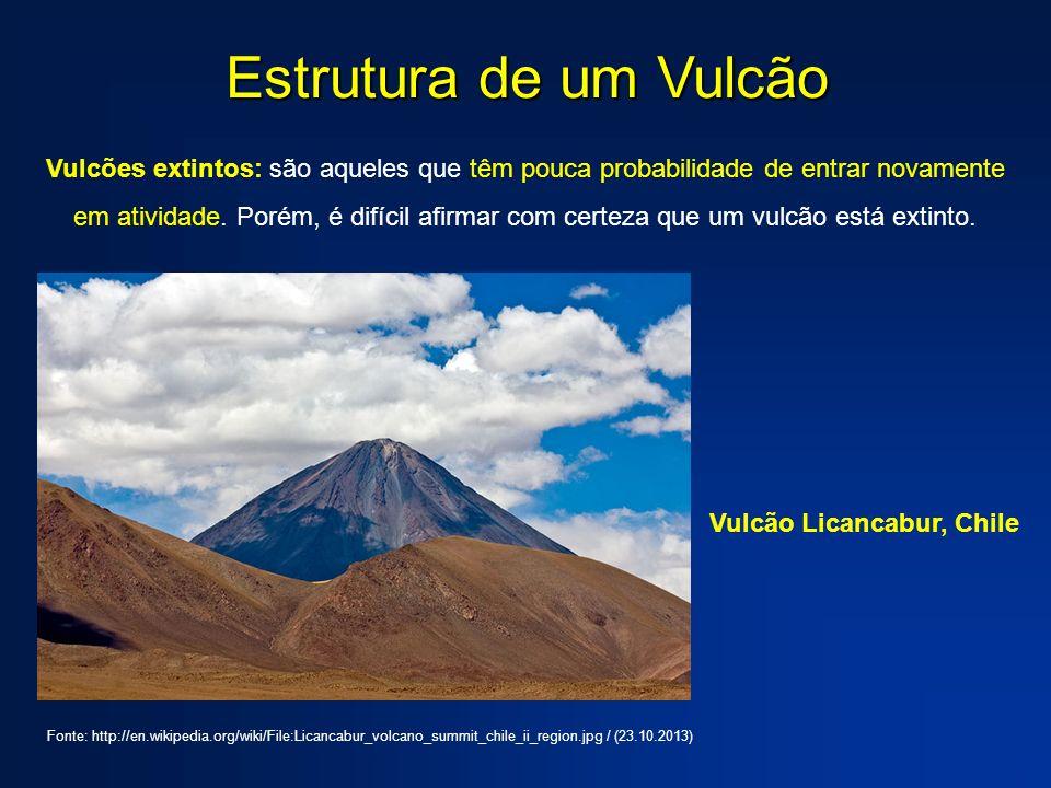 Estrutura de um Vulcão Vulcões extintos: são aqueles que têm pouca probabilidade de entrar novamente em atividade. Porém, é difícil afirmar com certez