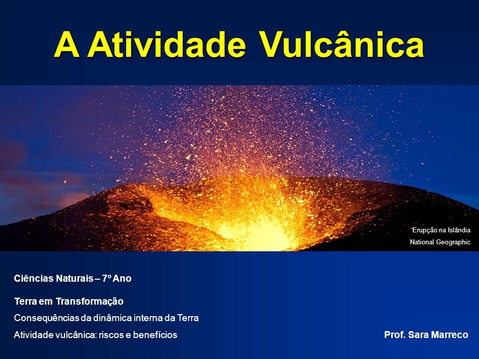A Atividade Vulcânica Ciências Naturais – 7º Ano Terra em Transformação Consequências da dinâmica interna da Terra Atividade vulcânica: riscos e benef
