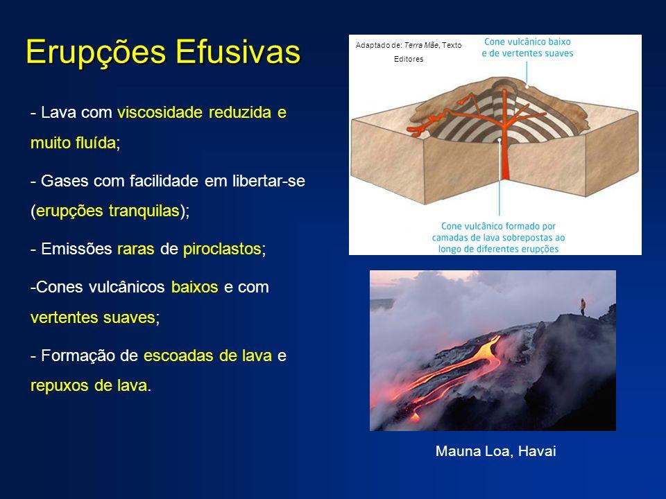 Erupções Efusivas - Lava com viscosidade reduzida e muito fluída; - Gases com facilidade em libertar-se (erupções tranquilas); - Emissões raras de pir