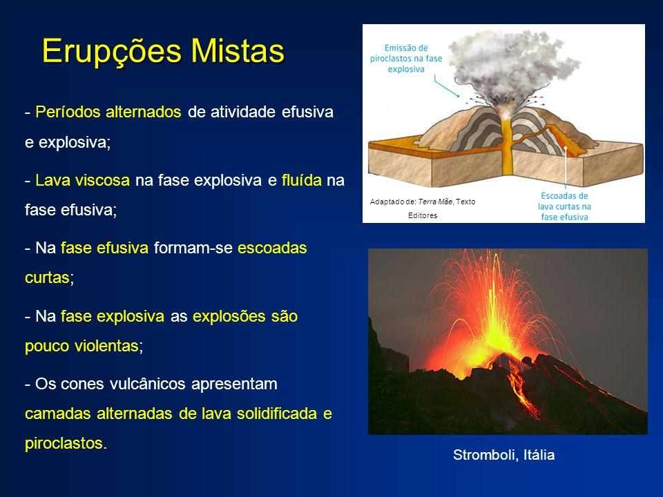 Erupções Mistas - Períodos alternados de atividade efusiva e explosiva; - Lava viscosa na fase explosiva e fluída na fase efusiva; - Na fase efusiva f