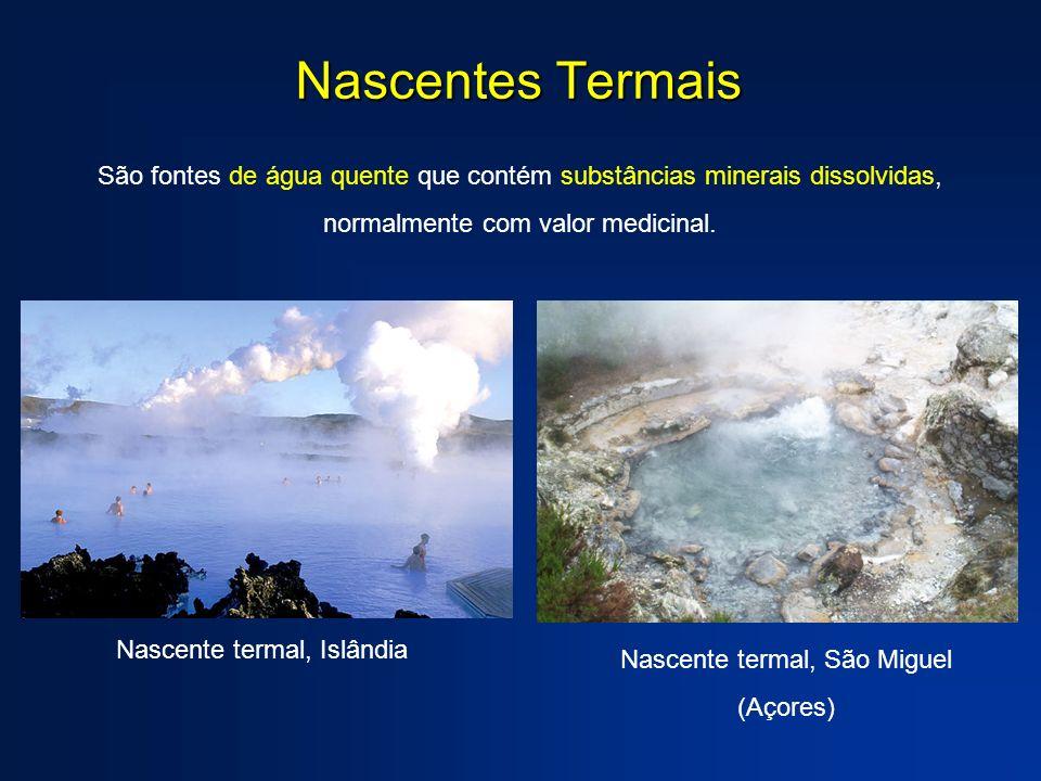 Nascentes Termais São fontes de água quente que contém substâncias minerais dissolvidas, normalmente com valor medicinal. Nascente termal, Islândia Na