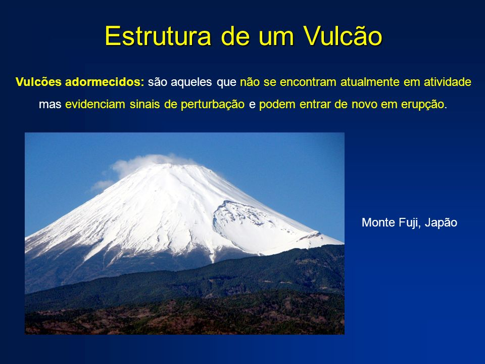 Estrutura de um Vulcão Vulcões adormecidos: são aqueles que não se encontram atualmente em atividade mas evidenciam sinais de perturbação e podem entr