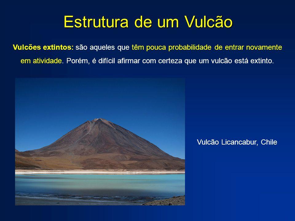 Caldeiras Vulcânicas Caldeira: depressão que se forma no topo de um vulcão por abatimento – caldeira de colapso – ou por explosão do cone vulcânico – caldeira de explosão.