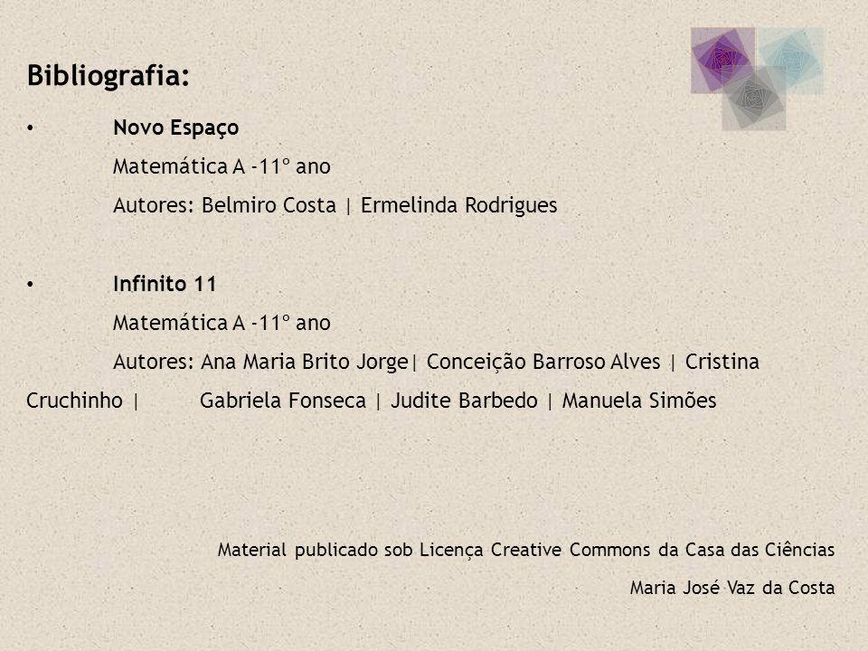 Maria José Vaz da Costa Material publicado sob Licença Creative Commons da Casa das Ciências Bibliografia: Novo Espaço Matemática A -11º ano Autores: