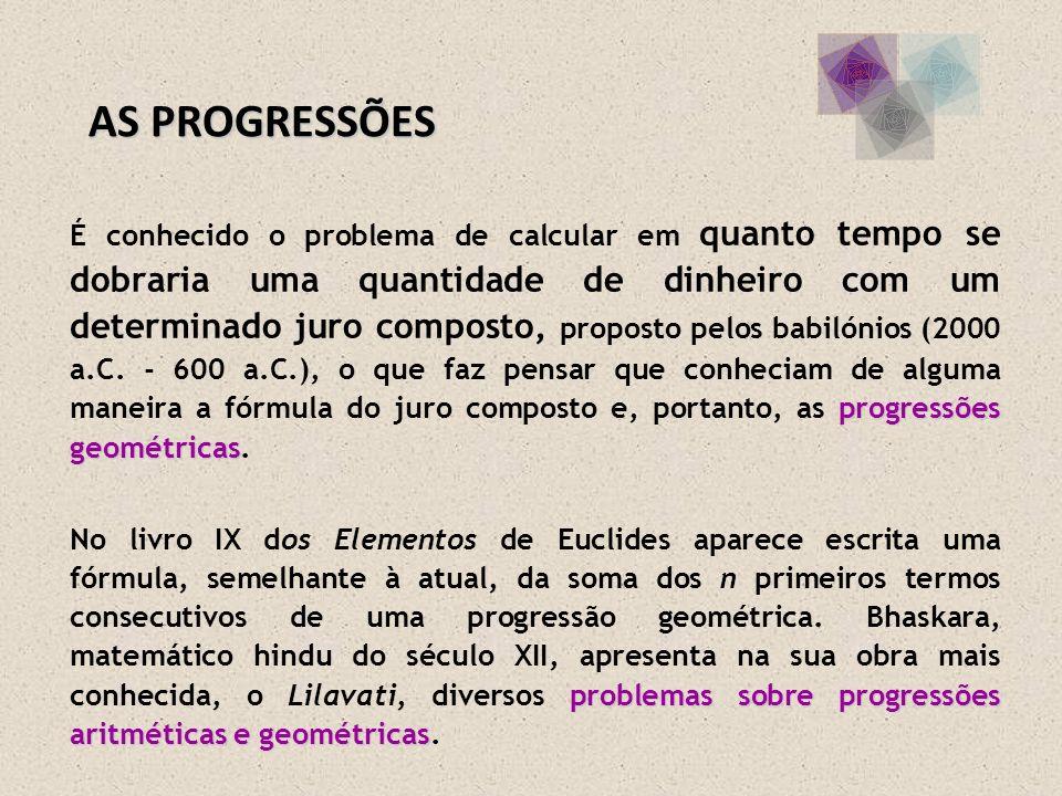 progressões geométricas É conhecido o problema de calcular em quanto tempo se dobraria uma quantidade de dinheiro com um determinado juro composto, pr