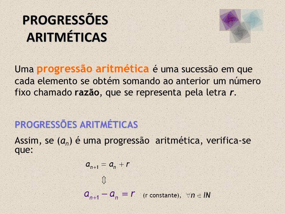 Uma progressão aritmética é uma sucessão em que cada elemento se obtém somando ao anterior um número fixo chamado razão, que se representa pela letra