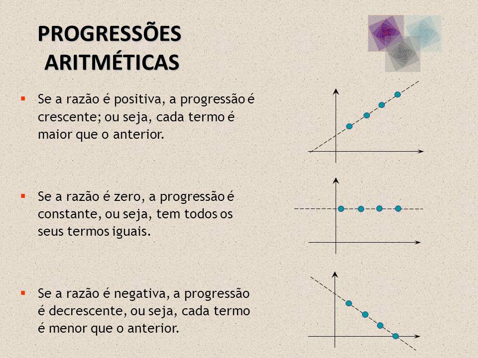 Se a razão é positiva, a progressão é crescente; ou seja, cada termo é maior que o anterior. Se a razão é zero, a progressão é constante, ou seja, tem
