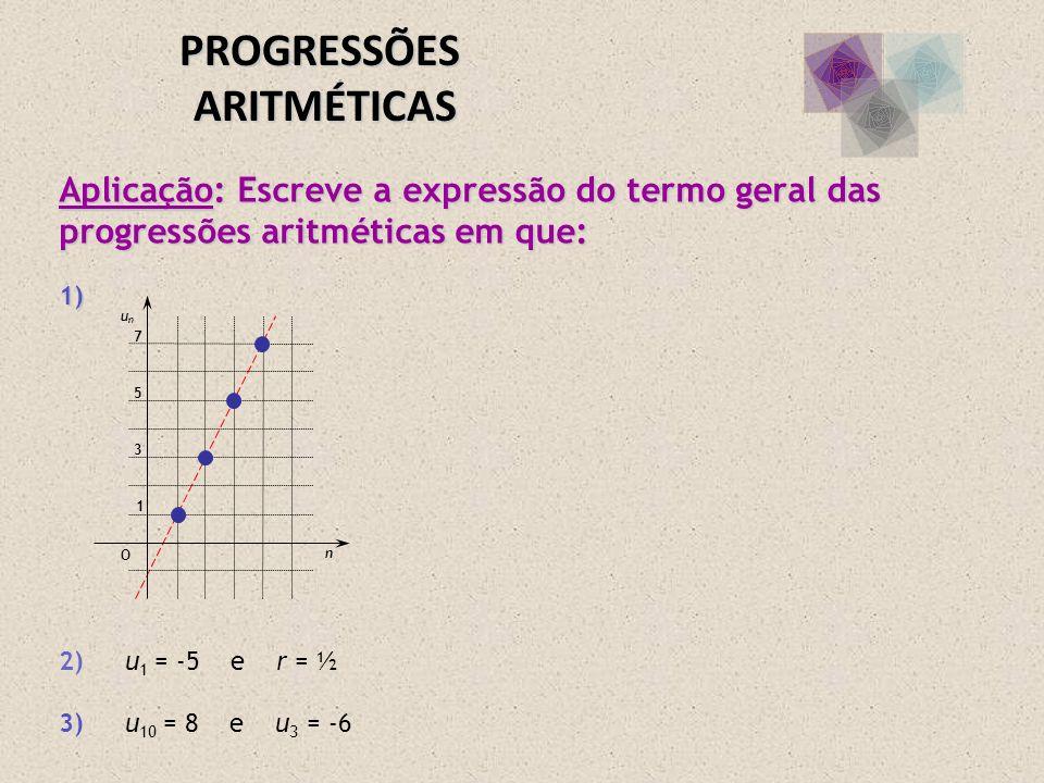Aplicação: Escreve a expressão do termo geral das progressões aritméticas em que: 1) Aplicação: Escreve a expressão do termo geral das progressões ari